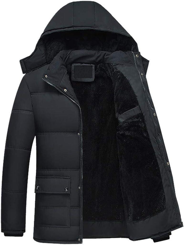 Men's Long Winter Warm Coat with Hood Outdoor Windproof Zipper Jacket
