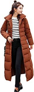 Women Winter White Duck Down Long Coat Hoodie Thicken Coat Long Sleeve Solid Big Fur Collar Outerwear