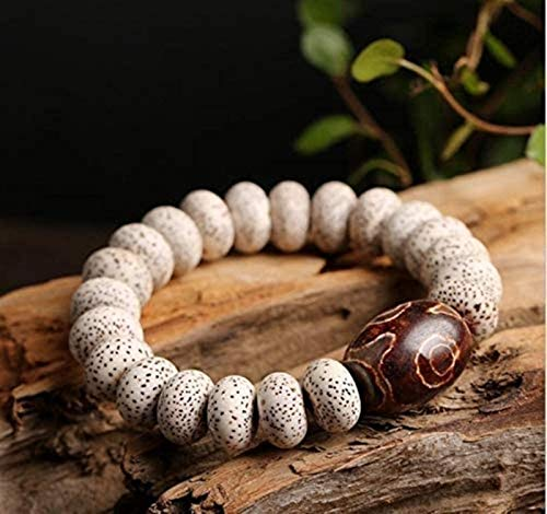 KEEBON Feng Shui Bead Bracelet Wealth Bracelet,Fengshui Protective Tibetan Evil Eye Dzi Beads Brown Agate StaMoon Pipal Tree Seed Wealth Buddhist Bracelet foMen Women Amulet Talisman Bangle Attract Mo