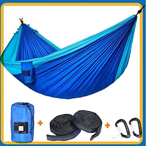 WEHOLY Hamac Swing Double Hamac extérieur Parachute Hamac en Tissu adapté pour la Cour Voyage Randonnée Camping Voyage Camping Hamac (Couleur: Bleu Royal Bleu Ciel, Taille: 300x200cm)