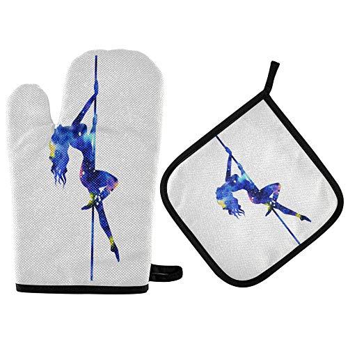 TropicalLife ADMustwin - Juego de guantes de horno y soporte para ollas para mujer, con forro de algodón, resistente al calor, antideslizantes, 2 piezas para barbacoa, cocina y hornear