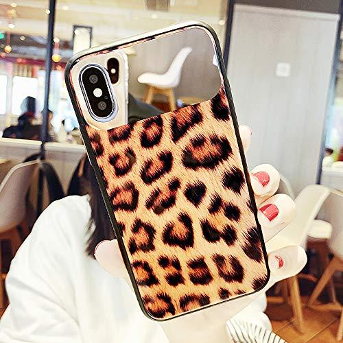 GUYISJK Funda para iPhone Leopard X Max 8Plus 7P 6S Espejo de cristal Ms. Funda para teléfono móvil, Ip X Xs Yellow Bottom Leopard