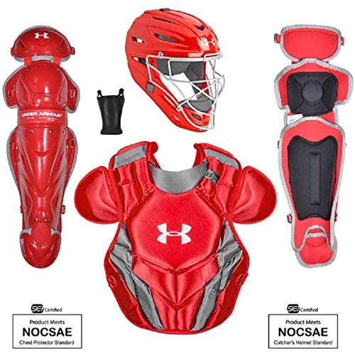 Under Armour Victory Series 4 Junior Baseball Catchers Set with Helmet, Leg Guard and Chest Guard, Red