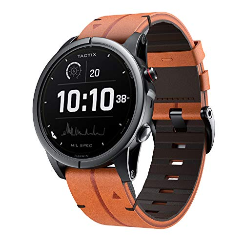 NotoCity for Fenix 5/Fenix 6 Band, 22mm Quick Easy Fit Genuine Leather Wristband Strap for Garmin Fenix 5/5 Plus,Approach S62/S60,Forerunner 935/945(Brown