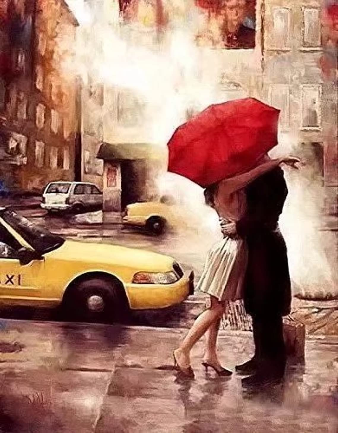 Dorara DIY Oil Painting Paint By Number Hand Paintworks 16×20 Inches Kiss in the Street