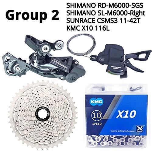 Haute Qualité Shimano Deore M6000 10 Vitesses VTT Vélo Dérailleurs Groupe Transmission Cassette HG500 HG54 KMC Chaîne X10 Sunrace 11-42T (Color : Group 2)