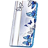 Surakey Hülle für Sony Xperia XA1 Handyhülle Brieftasche Handytasche PU Leder Tasche Schutzhülle Flip Hülle Cover Magnetic Lederhülle Etui Wallet Hülle Ständer Kartenfächer, Schmetterling