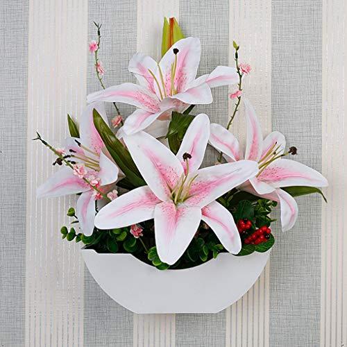 Simulation Lily Mur Montage Plante Tenture Salon Mur Ameublement Faux Fleur Faux Fleur, Fleur Artificielle pour La Décoration Intérieure,B