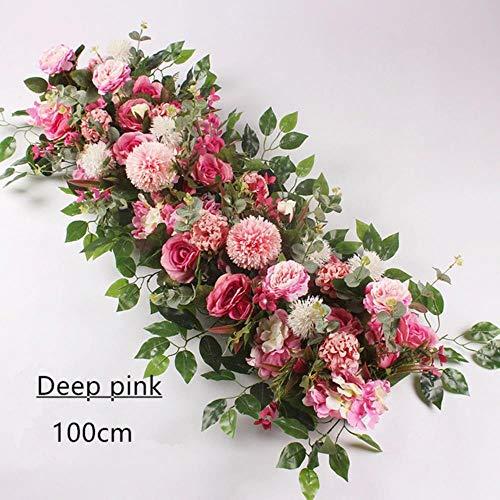 ZXC Home 50/100 cm knutselen accessoires arrangementen bloem bruiloft pioenroos rozen decor kunstbloem achtergrond ijzeren boog bruiloft kleur: champagne B size: 50 cm 50cm Deep Pink