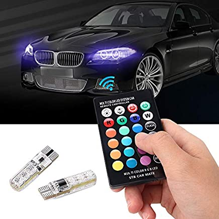 LED Car Interior Light,2X T10 5050 LED RGB COB Strobe Light Atmosphere Light Colorfulworld Wedge Side Light with Wireless Remote Control