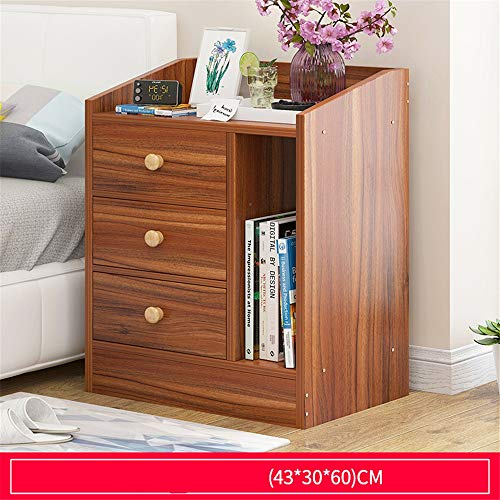 EVFIT Bedside Table Bedside Table 3 Drawers Bedroom Storage Cabinets Unit With Bookcase Magazine Shelves Wooden Perfect for Any Bedroom (Color : B, Size : 43x30x60cm)