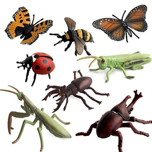 Egosy 8 stücke Simulation Insekt Modell Tierfigur Libelle Käfer Marienkäfer Heuschrecke Dekoration Figur Kinder Spielzeug-Multicolor-1 Größe