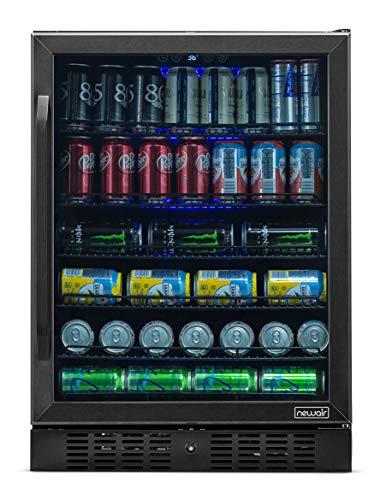 NewAir Beverage Refrigerator Built In Cooler with 177 Can Capacity Soda Beer Fridge, NBC177BS00, Black Stainless Steel
