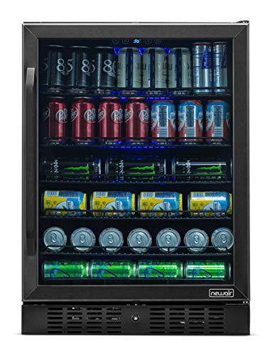 NewAir NBC177BS00 Cooler, Built-in or Stand Alone, High Beverage Mini Fridge with Glass Door, 177 Can Capacity, Black Stainless Steel