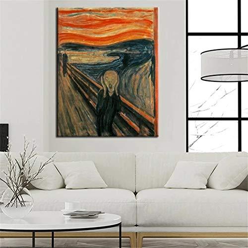 Diamond Painting Kits complet grande taille Cri d'Edvard Munch,DIY 5D Diamond Painting point de croix broderie cristal adulte/enfant Mosaïque Canvas Wall Art Decor Square Drill,70x90cm(28x36in)