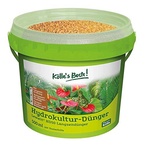 Kölle's Beste! Hydrokultur Dünger, praktisches Granulat, Lewatit® HD 50 Langzeitdünger mit Dosierhilfe für alle Hydrokultur Zierpflanzen, neutralisiert hartes Wasser, für Wachstum und Blüte 500 ml