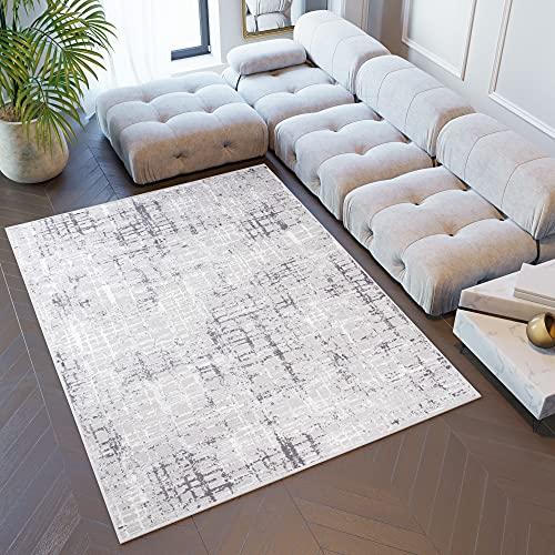 TAPISO Sky Tapis de Salon Chambre Ado Design Moderne Gris Foncé Blanc Vintage Abstrait Moucheté Rayures Doux 80 x 150 cm