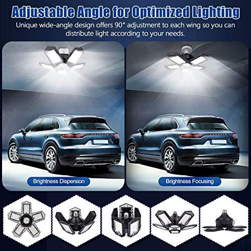 LED Garage Light 2 Pack 150W - Garage Light 15000LM LED Garage Lights with 5+1 Multi-Position Panels Deformable E26/E27 Garage Lighting LED Shop Light 6500K Daylight for Garage Workshop Basement Bay