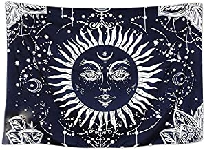Psychedelic Moon and Sun Tapestry Wall Hanging Dark Blue White Celestial Tapestry Indian Hippy Bohemian Mandala Tapestry W...