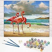 DIY ペイントバイナンバーキット キャンバス油絵 子供と大人の初心者用 20 x 16インチ 絵筆付き絵画 アクリル顔料 ホームウォールデコレーション 0090991