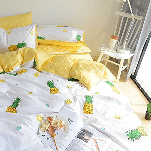 VM VOUGEMARKET Pineapple Bedding Duvet Cover Set Queen-100% Cotton,3 Pieces Cream/Off White Bedding Set,Reversible Yellow Geometric Duvet Cover for Kids Teens Children-Full/Queen,Pineapple
