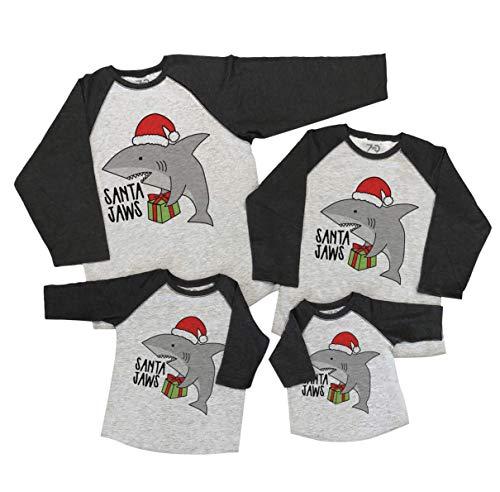 7 ate 9 Apparel Camisas de Navidad a Juego con la Familia – Camisa Gris de Papá Noel, Gris, 2 Años