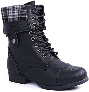 Best black lace up fold over boots Reviews
