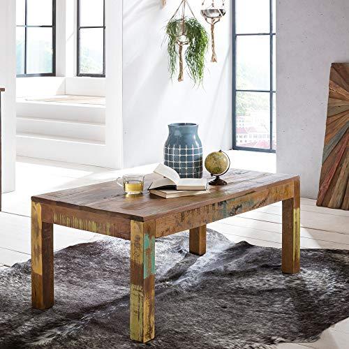 FineBuy Couchtisch KALKUTTA 110 x 47 x 60 cm | Massivholz Wohnzimmertisch Rechteckig | Sofatisch Shabby-Chic Massiv | Beistelltisch aus Bootsholz