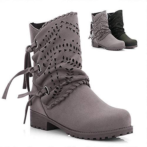 Zapatos De Mujer - Botas De Cuero Mate Perforado/Otoño E Invierno Botas De Mujer Cálidas/Zapatos De Mujer De Talla Grande 35-43,Gris,41