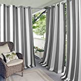 Elrene Home Fashions Aiden Indoor/Outdoor UV Protectant Cabana Stripe Grommet Top Window Curtain Panel for Patio, Pergola, Porch, Deck, and Lanai, 50' x 84' (1, Gray