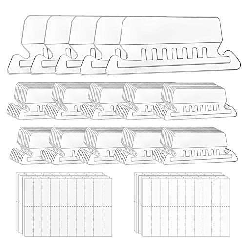 File Folder Tabs, 100+200 Sets Hanging File Folder Tabs with Inserts for Hanging Folders, 2 Inch Clear Plastic Hanging File Tabs for Quick Identification