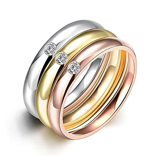 Nykkola, set di 3 anelli Eternity in acciaio inox placcato in oro con zirconia, misure da 16,5 mm a 19 mm e acciaio inossidabile, 11, cod. XGTGR035-A-6