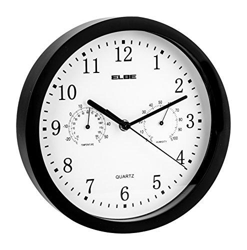ELBE RP-1005-N Reloj de Pared con termómetro e higrómetro, Mide Temperatura y Humedad, 25 cm diámetro, Panel Blanco Marco Negro, Funciona con Pilas