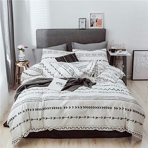 Luofanfei Baumwolle Bettwäsche 3 Teilig Streifen Kariert Bettbezug Set Geometrisch Muster mit Reißverschluss Zweiseitig Gedruckt 2 x Kissenbezüge 80 x 80 (XX, 155X220 cm 80x80 cm)