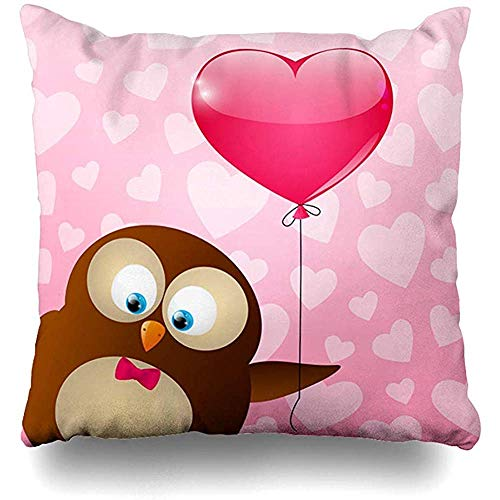 Imodest Dekokissenbezüge Vogel Rosa Valentinstag Niedliche Eule Ballon Bordüre Bogen Charakter Reihe Kissenbezug 45 x 45 cm Kissenbezug 2er-Set
