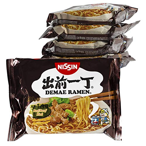 Ramen Nissin Fideos Instantáneos paquetes de 100gr | Fácil de preparar | Noodles de Japón (Ternera, 5)