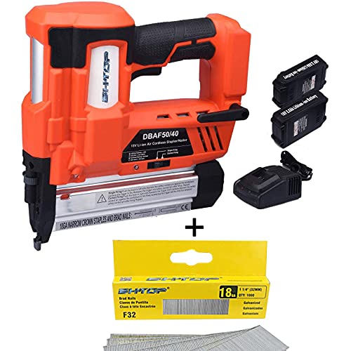 BHTOP Cordless Brad Nailer &Stapler 2 in 1 18Ga Heavy Finish Nail Gun with 18Volt 2Ah Lithium-ion Rechargeable Battery Air Cylinder & 100 Pack 1 1/4 inch Brad Nails