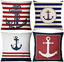 Emvency Decorative Throw Pillow Covers Cushion 18 x 18 Inches Set of 4 Cotton Linen Blue Modern Simple Navigation Anchor Navy Wind Red and for Room Bedroom Sofa Chair Car