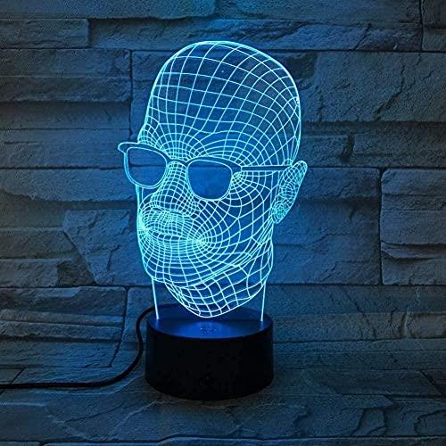 Hombres con gafas negras Luz de noche 3D Luces mágicas LED únicas 7/16 Cambio de color Luces de decoración del dormitorio Niños Regalos de cumpleaños de Navidad Juguetes
