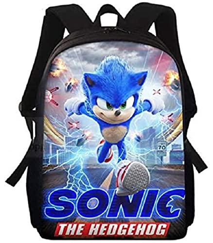 Mochila Sonic 2021 Mochila escolar con estampado sónico, mochilas escolares para niños adolescentes, Mochila escolar de dibujos animados