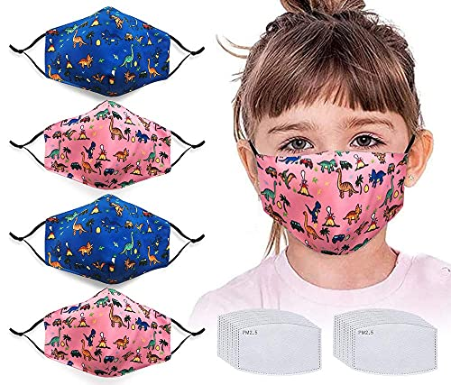 4pcs Face Protector with 20 Activated Carbon Filters Washable Reusable Cute Dinosaur Anti Air Dust Face Bandanas for Kids…