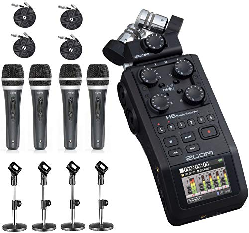 Zoom H6 Six-Track Portable Handy Recorder with the Movo Podcasting Bundle including 4-Pack of Handheld Microphones, Tabletop Mic Stands, Clips and Cables (2020 Version)