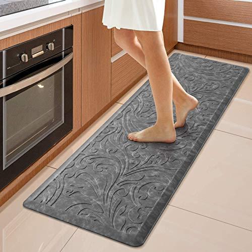 KMAT Kitchen Mat Cushioned Anti-Fatigue Floor Mat Waterproof Non-Slip Standing Mat Ergonomic Comfort Floor Mat Rug for Home,Office,Sink,Laundry,Desk 17.3' (W) x 60'(L), Gray