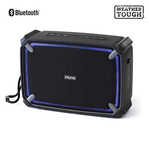 iHome iBT374 Weather Tough Portable Rechargeable Bluetooth Speaker with Speakerphone, Accent Lighting and USB Charging Port - Featuring Melody, Voice Powered Music Assistant