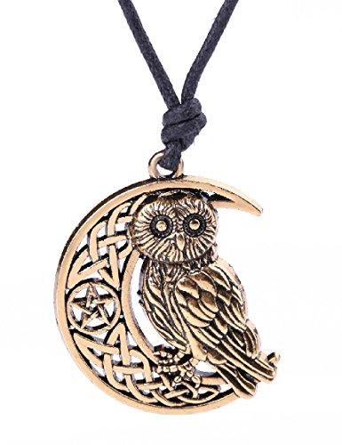 My Shape Colgante de búho con luna creciente collar con nudo celta y pentagrama, símbolo de divinidad collar para amuleto