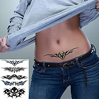 Waterproof Temporary Tattoo Sticker Bird Flower Rose Tatto Cool Flash Tatoo Tatouage Temporaire Body Art for Girl Women Men (Color : Black)