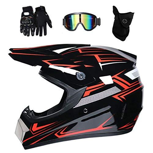 AIRER Dual Sports Motocross Helmet with Gloves Goggles Mask, D.O.T Certified Full Face MTB Motorcycle Go Karting Helmet for Men Women, Youth Enduro Racing Downhill Quad Motorbike Crash Helmet