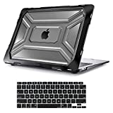 MOSISO Compatible with MacBook Air 13 inch Case 2020 Release A2337 M1 A2179 with Retina Display Touch ID, Heavy Duty Plastic Hard Shell Case with TPU Bumper & Keyboard Cover, Black