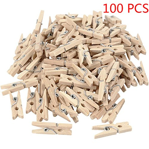 Allinbuy 100PCS 2.5x0.3cm Natural Mini Wooden Clips for Clothespins Decorative Photos Papers