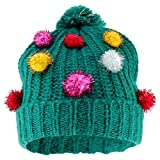 Trendy Apparel Shop Christmas Themed Funny Ugly Holiday Pom Knit Beanie Hats - Tree